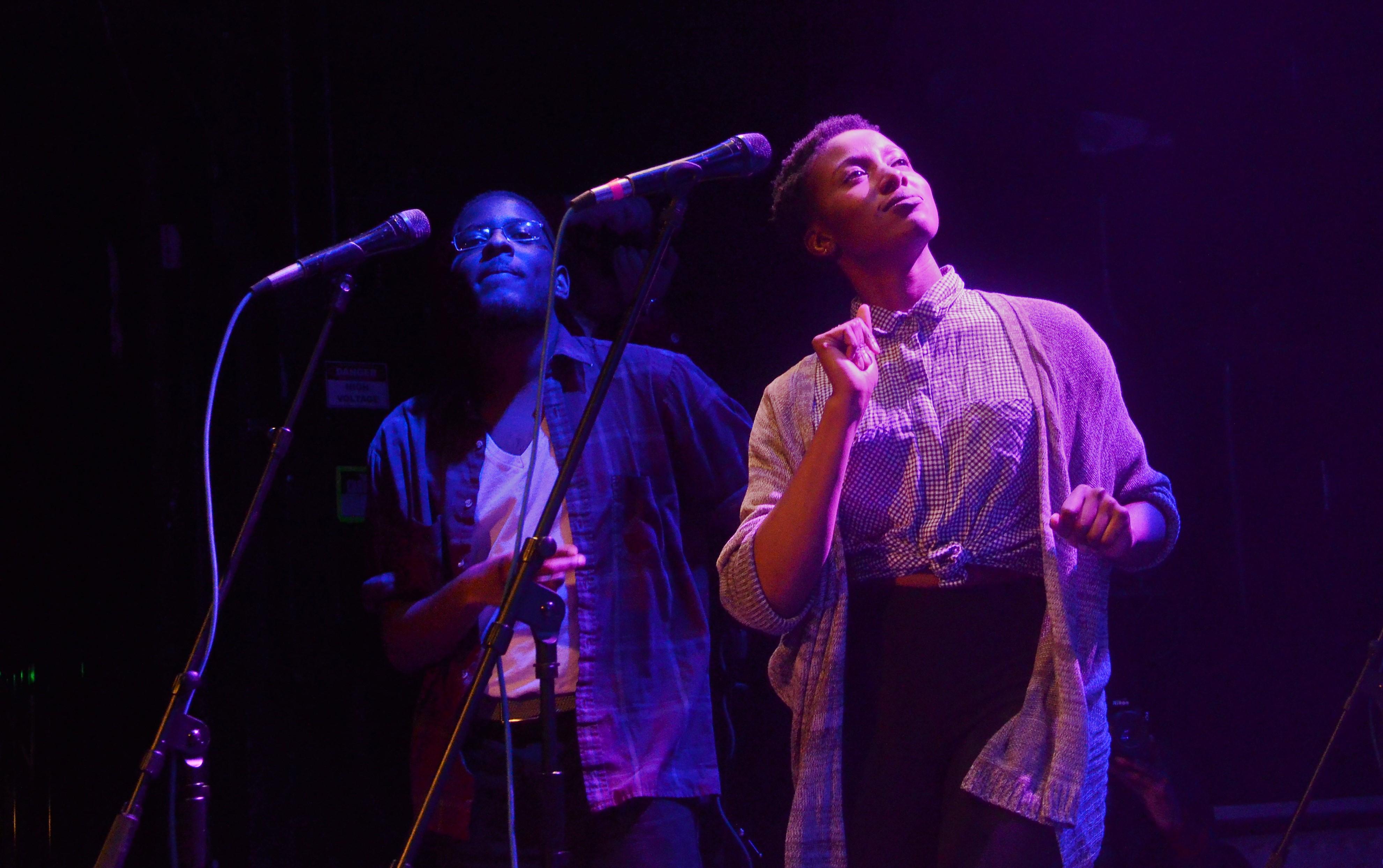 Ruth Onyirimba and Tony Motown adding some flare to Phat A$tronaut's set with their backing vocals.